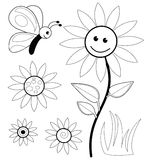 Coloring book sketches. A set of black and white coloring book sketches with flowers and butterfly Royalty Free Stock Images