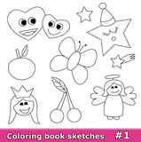 Coloring book sketches, part 1. Collection of black & white sketches for coloring books for children isolated on white. Part 1 of the collection stock illustration