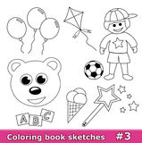 Coloring book sketches, part 3. Collection of black & white sketches for coloring books for children isolated on white. Part 3 of the collection royalty free illustration