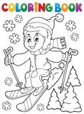Coloring book skiing boy theme  Royalty Free Stock Images