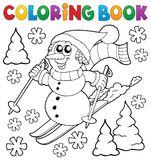 Coloring book skiing snowman theme 1 Royalty Free Stock Photography