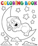 Coloring book sleeping bear theme 2 Royalty Free Stock Photos