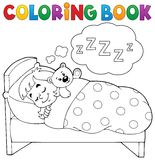 Coloring book sleeping child theme 1 Royalty Free Stock Photos