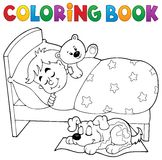 Coloring book sleeping child theme 2 Stock Photography