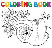 Coloring book sloth on branch. Eps10 vector illustration stock illustration