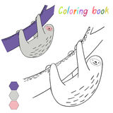 Coloring book sloth kids layout for game Royalty Free Stock Image