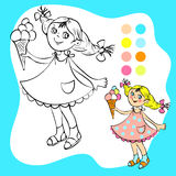 Coloring book - small pretty girl with ice cream Royalty Free Stock Image