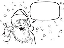 Coloring Book smiling Santa Claus pointing Stock Image