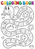 Coloring book snake with alphabet theme Royalty Free Stock Images