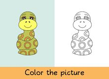 Coloring book. Snake. Cartoon animall. Kids game. Color picture. Learning by playing. Task for children.  royalty free illustration
