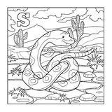 Coloring book (snake), colorless illustration (letter S). Coloring book for children (snake), colorless illustration (letter S stock illustration