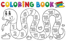 Coloring book snake with numbers theme Stock Photo