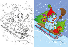Coloring Book Of Snowman With Dog Rides. Vector illustration of snowman with dog rides through the snowy woods for coloring page for kids Royalty Free Stock Images