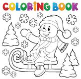 Coloring Book Snowman On Sledge Theme 1 Royalty Free Stock Image