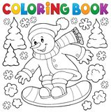 Coloring book snowman on snowboard Stock Photos