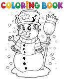 Coloring book snowman theme 1 Royalty Free Stock Photos