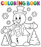 Coloring book snowman topic 1 Royalty Free Stock Photos
