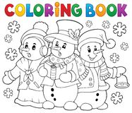 Coloring book snowmen carol singers Royalty Free Stock Images