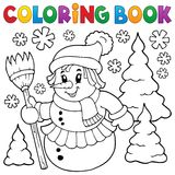 Coloring book snowwoman topic 1 Stock Image