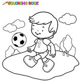 Coloring book Soccer Kid Royalty Free Stock Photos