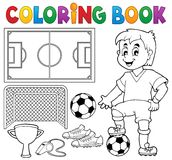 Coloring book soccer theme 1 Stock Image