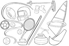 Coloring book. Sports Equipment Set. Stock Images