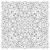 Coloring book square page for adults - floral authentic carpet design, joy to older children and adult colorists, who Stock Photo