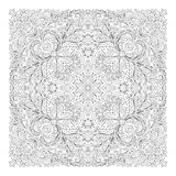 Coloring book square page for adults - floral authentic carpet design, joy to older children and adult colorists, who Royalty Free Stock Images