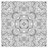 Coloring book square page for adults - floral authentic carpet design, joy to older children and adult colorists, who Royalty Free Stock Photos