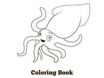 Coloring book squid fish cartoon illustration Stock Photos