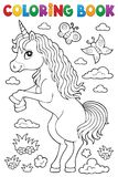 Coloring book standing unicorn theme 1. Eps10 vector illustration stock illustration