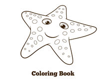 Coloring book starfish fish cartoon vector Stock Images
