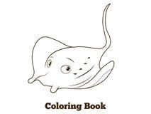Coloring book stingray cartoon educational Royalty Free Stock Photo