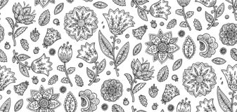 Coloring book style ornate black flowers on white background vector seamless pattern tile royalty free illustration