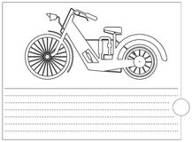 Coloring book with stylish bike and place for text. Black lines  on white background. Vector image Royalty Free Stock Photography