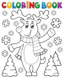 Coloring book stylized Christmas deer Stock Photos