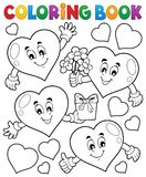 Coloring book stylized hearts theme 1 Stock Images