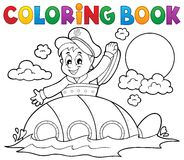 Coloring book submarine with sailor Stock Photos