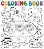 Coloring book submarine theme 1 Royalty Free Stock Photo