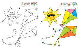 Coloring Book Summer Sky Kite. Sun Sunglasses Royalty Free Stock Photos