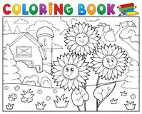 Coloring book sunflowers near farm. Eps10 vector illustration Stock Photo