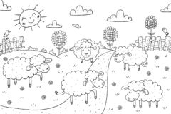 Coloring book sunny meadow, sheeps design for kids royalty free stock images