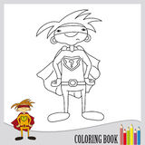 Coloring book - superhero in orange outfit (vector). Page of coloring book - funny superhero costume Royalty Free Stock Image