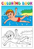 Coloring book swimming theme 1 royalty free illustration