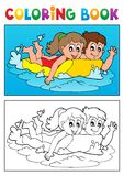 Coloring book swimming theme 3 Royalty Free Stock Photo
