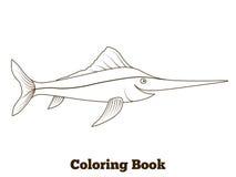 Coloring book swordfish fish cartoon illustration Stock Photos