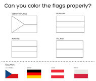 Coloring book task - European flags with solution Royalty Free Stock Images