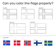 Coloring Book Task - Scandinavian Flags With Solution Stock Vector ...