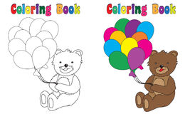 Coloring Book Teddy Balloons stock images