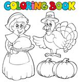 Coloring book Thanksgiving theme Stock Photo